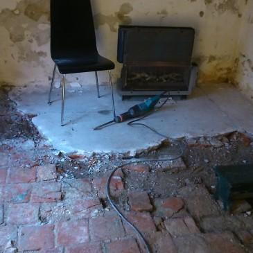 Betonvloer kamer tuinkant verwijderen